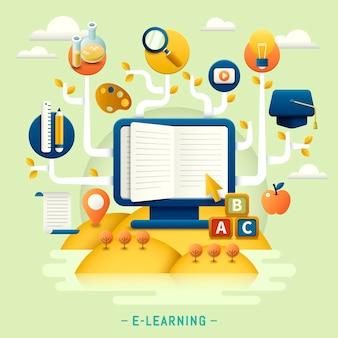 Design plat de l'éducation, arbre de l'éducation avec icônes et papeterie