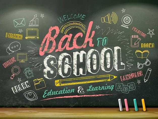 Design plat de l'éducation, retour à l'école écrit au tableau