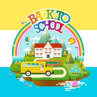 Design plat d'éducation, scène de retour à l'école avec école sur une petite île