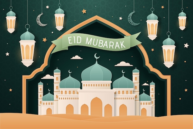 Design plat eid mubarak fond avec mosquée