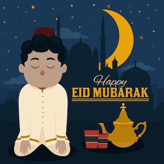 Design plat eid mubarak avec homme priant