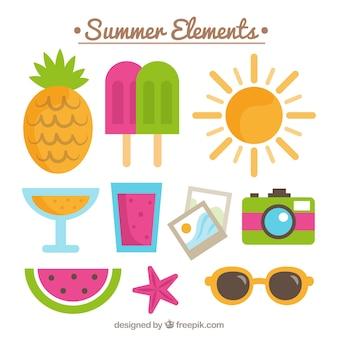 Design plat d'éléments d'été