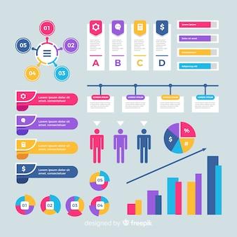 Design plat d'éléments infographiques colorés