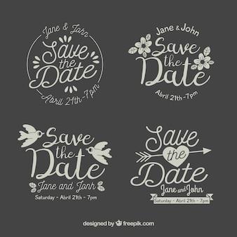 Design plat enregistrer la collection d'étiquettes de date / badge