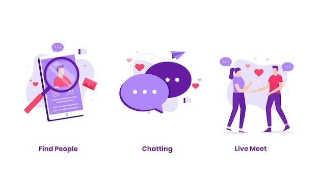 Design plat de l'ensemble d'illustrations de rencontres en ligne. illustration pour sites web, pages de destination, applications mobiles, affiches et bannières