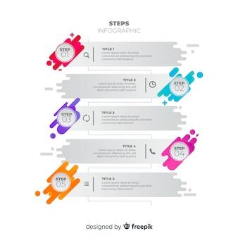 Design plat étapes colorées infographie