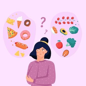 Design plat femme choisissant entre une illustration d'aliments sains ou malsains