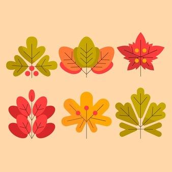 Design plat de feuilles colorées