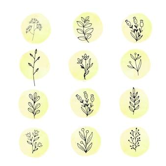 Design plat de feuilles et de fleurs linéaires