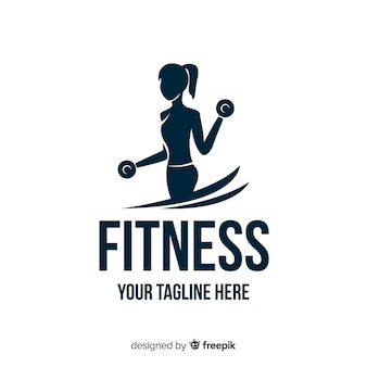 Design plat de fille silhouette fitness logo