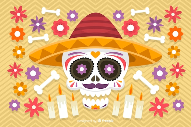 Design plat de fond coloré dia de muertos
