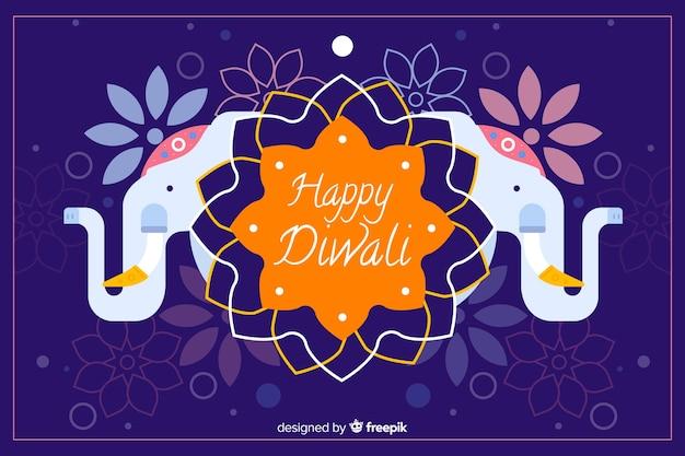 Design plat de fond de diwali avec les éléphants