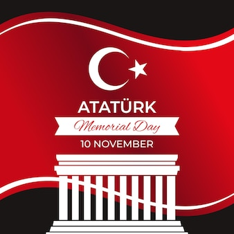 Design plat fond de jour commémoratif ataturk