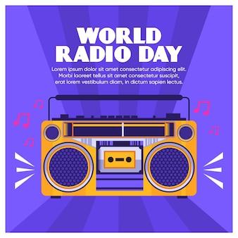 Design plat de fond de journée mondiale de la radio avec stéréo