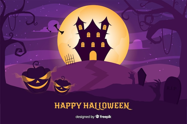Design plat de fond de maison hantée d'halloween