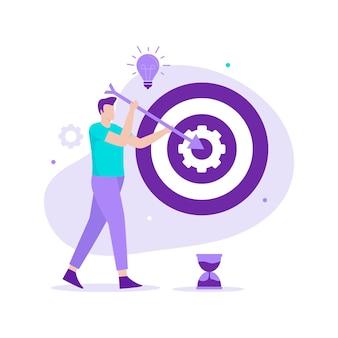 Design plat de gérer l'illustration des objectifs commerciaux. illustration pour sites web, pages de destination, applications mobiles, affiches et bannières