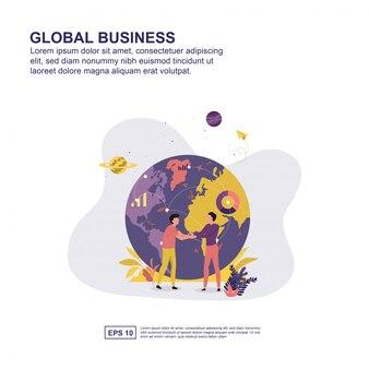Design plat global business concept vector illustration pour la présentation.
