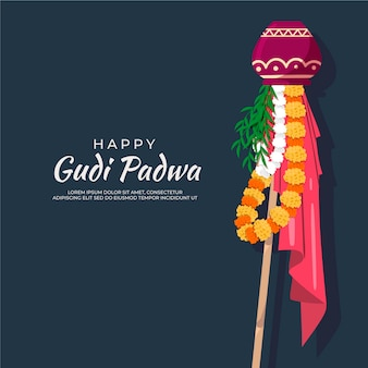 Design Plat Gudi Padwa Event Vecteur gratuit