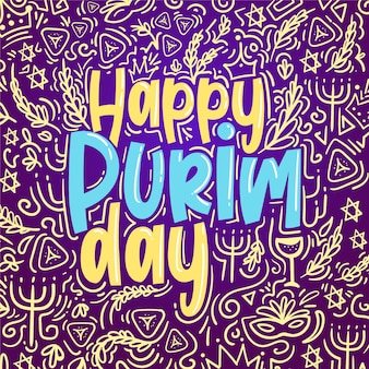 Design plat happy purim day