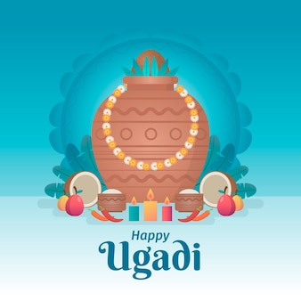 Design plat heureux événement ugadi
