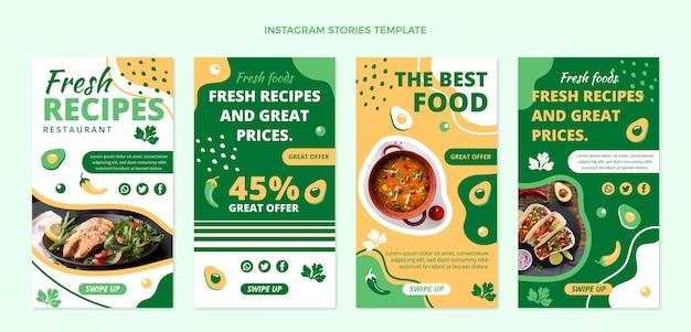 Design plat d'histoires de nourriture ig