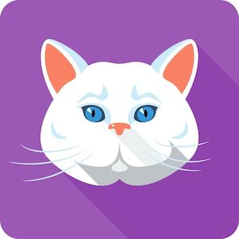 Design plat icône chat britannique blanc