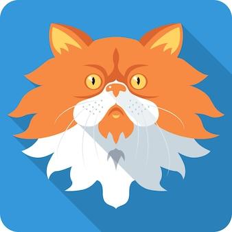 Design plat icône chat persan