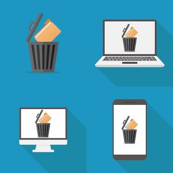 Design plat d'icône de fichier