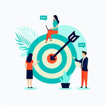 Design plat illustration concept d'entreprise avec des gens