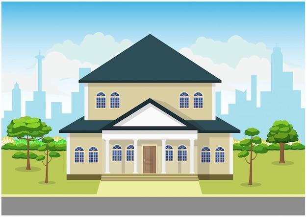 Design plat d'illustration de concept de maison de paysage