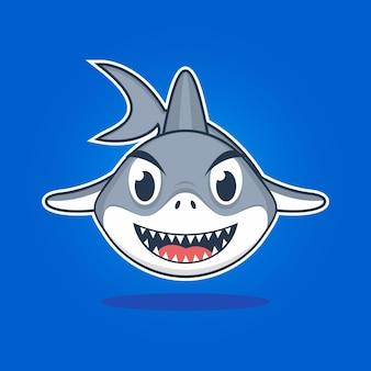 Design plat illustration dessin animé mignon requin