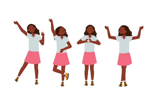 Design plat illustration fille noire dans des poses différentes