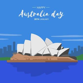 Design plat illustration jour heureux australie
