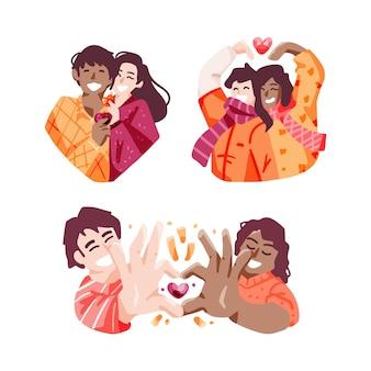 Design plat d'illustration de moments de couple
