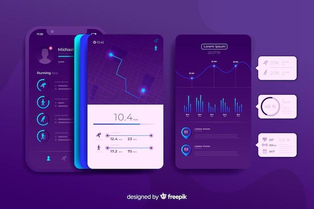 Design plat infographie application mobile en cours d'exécution