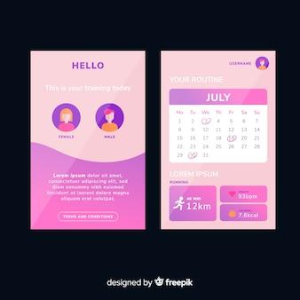 Design plat infographie application mobile de remise en forme