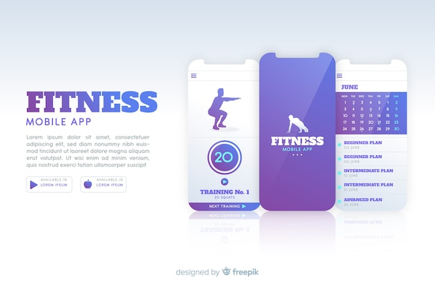 Design plat infographie application mobile de remise en forme