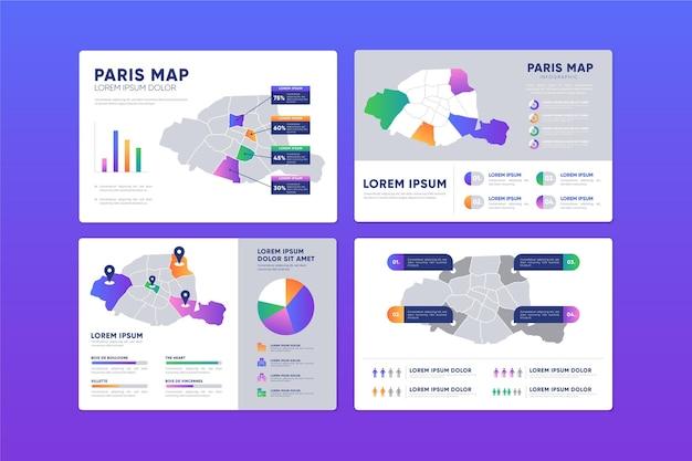 Design plat infographie de carte de paris
