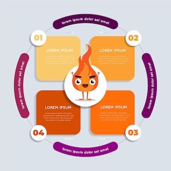 Design plat d'infographie de feu