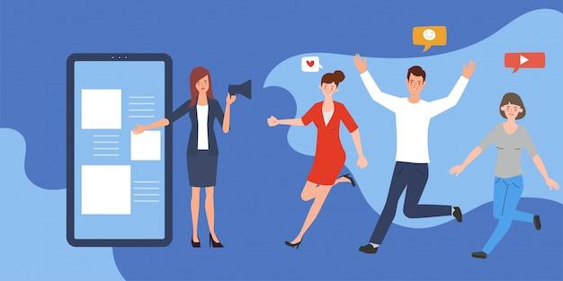 Design plat d'infographie de médias sociaux. part de marketing viral des personnes. smartphone de technologie de communication.