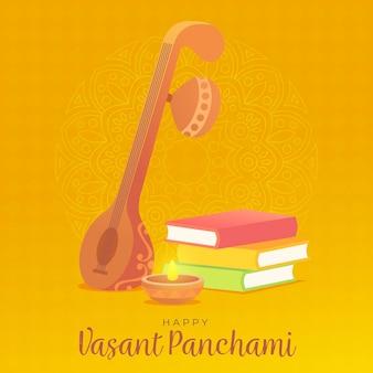 Design plat d'instrument de panchami vasant heureux