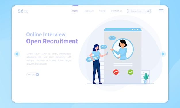 Design plat d'interview en ligne sur un modèle de page de destination
