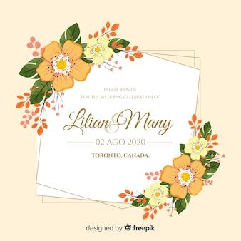Design plat d'invitation de mariage cadre floral