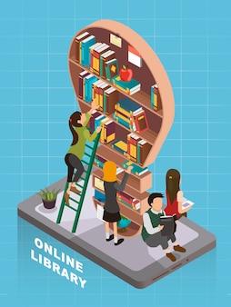 Design plat isométrique 3d concept de bibliothèque en ligne