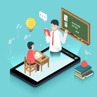 Design plat isométrique 3d concept d'éducation en ligne