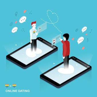 Design plat isométrique 3d concept de rencontre en ligne