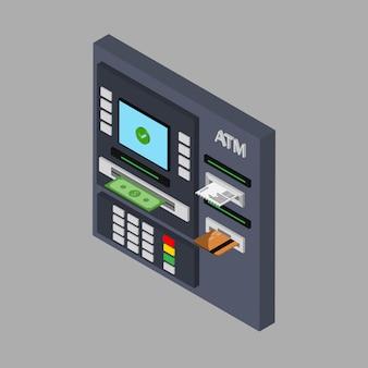 Design plat isométrique de guichet automatique avec espèces, carte de crédit et chèque. retirer de l'argent à l'atm. utilisation du terminal automatique. illustration. isolé.