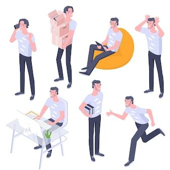Design plat isométrique personnages de jeunes hommes pose, gestes et activités définis. travail de bureau, apprentissage, marche, vélo, chaise sac assis avec des gadgets, personnages de personnes debout.