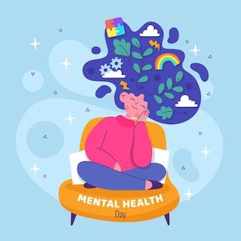 Design plat de jour de santé mentale