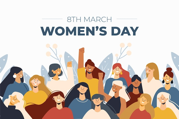Design plat de la journée des femmes